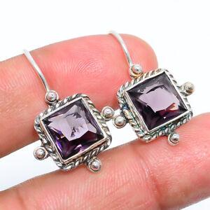 """Amethyst- Gemstone 925 Sterling Silver Bali Earring Jewelry 1.09"""" W2431"""