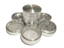 "SharpStone® 2.2"" Inch 5pc Hard Top Tobacco Herb Medium Silver Grinder + Extras"