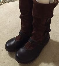 Women's El Natura Lista Brown Suede Leather Mid Calf Boots 8.5 M