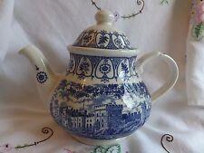 Hermosa Vintage reinas Plata Jubileo 1977 Azul y Blanca Castillo de Windsor Tetera