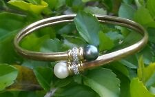 10K YELLOW GOLD BLACK PEARL WHITE PEARL DIAMONDS BYPASS FLEXIBLE BANGLE BRACELET