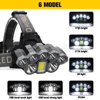 90000LM LED Headlight Headlamp T6 COB USB Rechargeable Head Torch Lamp Fish