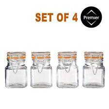 90ml Set di 4 Barattoli di Vetro Quadrato, Clip Top, cucina Spice Erbe Marmellata Contenitore