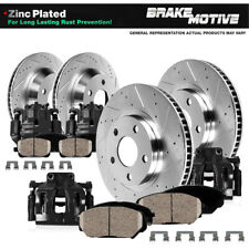 Front + Rear Brake Calipers And Rotors + Ceramic Pads For Cadillac Chevy GMC