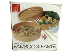 Vintage Metro 10-INCH Bamboo Steamer 3-Piece Set Healthy Cooking Item # 2013