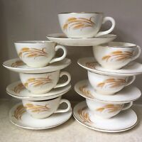 4+3 7 Sets GOLDEN WHEAT Cups & Saucers HOMER LAUGHLIN 22K Gold VINTAGE Very Nice