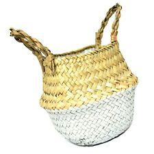 NATURAL SEAGRASS WOVEN STORAGE POT TOTE BELLY BASKET STORAGE PLANT POT COVER