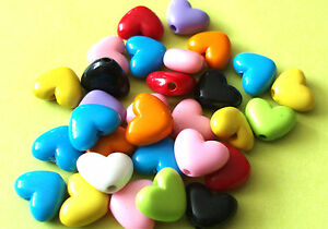 50pcs assorted colour acrylic heart shaped beads 11mm x 14mm
