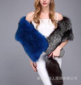 Winter Womens Fox Fur Cape Multi Color Warm Outwear Cape Shawl Soft Tail Tops sz