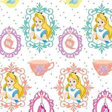 Fat Quarter Alice In Wonderland Alice And Teacups 100% Cotton Quilting Fabric