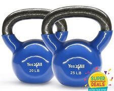 Yes4All PVC Kettlebell Solid Cast Iron Coated Training 20 25 lbs Set - ²KL9LF