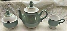 1978 Denby 'VENICE' Tea Pot, Sugar & Creamer - Sea foam Green (105)