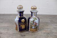 Two Antique Dresden Helena Wolfsohn Watteau Cobalt Blue Scent Bottles.