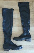 Vera Gomma Black Over Knee High Leather Boots Chunky Biker Pull On UK 4 EU 37