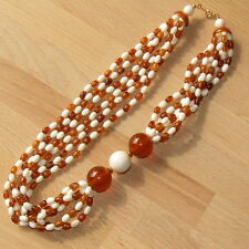 Vintage Bead Necklace Costume Jewelry 6 Strand Amber Cream