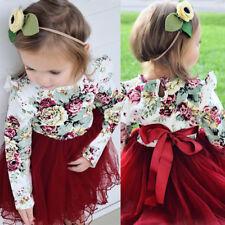 UK Toddler Kid Baby Girls Long Sleeve Flower Tulle Tutu Skirts Dresses Clothes