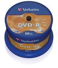 50 DVD -R Verbatim 16x 4.7 gb vergini vuoti AZO STOCK