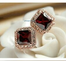 free ship 18K rose Gold GP red   Austria Crystal unique square Earrings
