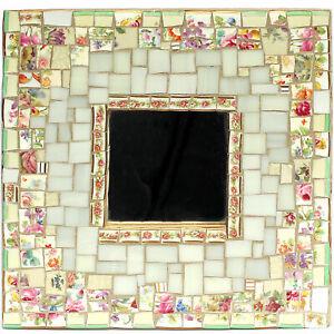 Shabby Cottage Chic Dorit Artisan Made Broken China Mosaic Mirror, Floral Tiles