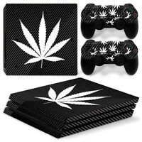 Black Marijuana Decal Cover Skin Sticker For Playstation PS4 Pro &2 Controllers