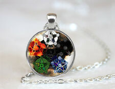 Stars Wicca Pendant Necklace Wiccan Jewelry Pentagram glass Occult Necklace