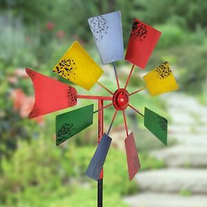 Metal Windmill Decor Stake Backyard Yard Garden Outdoor Vintage Kinetic Spinner