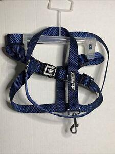 "Heavy Duty Adjustable Pet Large Dog Safety Harness & Leash Lead Set Blue 17-26"""