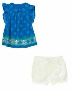 crazy 8 by gymboree blue guaze tropical top shirt white shorts 5 5t 6 NWT