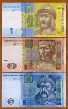 SET Ukraine, 1;2;5 Hryvnia, 2011-2015, P-116-117-118, UNC