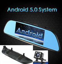 "Smart Android 7"" HD Rear View Mirror GPS 3G WIFI Car DVR Dual Camera Recorder"