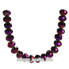 50Pcs Loose Metal Purple Crystal Glass Faceted Rondelle Beads 8x6mm Spacer
