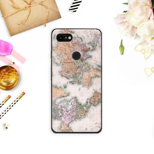 World Map Google Pixel 2 3 XL Silicone Cover Travel Pixel 3 Cute Adventure Case
