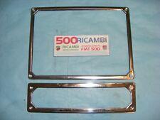 FIAT 500 F/L/R 126 COPPIA CORNICE TARGA ANTERIORE + POSTERIORE METALLO CROMATE