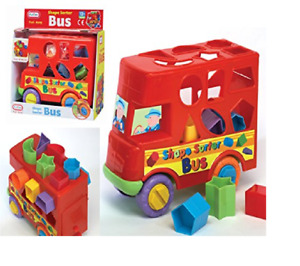 My First Shape Sorter Push Along Bus Baby Toddler Sorting Activity Toy Learning