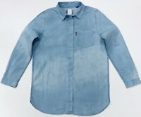 LEVI'S ACID WASH WOMEN'S WESTERN DENIM SHIRT IN LONGER LENGTH