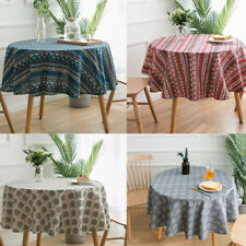 Cotton Linen Round Tablecloth Printed Christmas Party Dining Table Cloth Decor