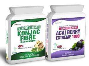 60 Acai Berry Extreme 90 Glucomannan Konjac Fibre Free Diet Weight Loss Tips