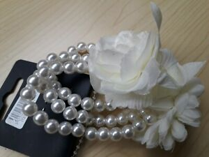BNWT  Accessories Elasticated Triple Row Pearl Bead Effect Corsage Cuff Bracelet
