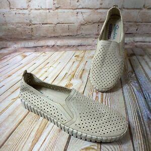 Skechers SEPULVEDA BLVD A LA MODE Size 8 Tan Beige Laser Cut Flats Shoes Comfort