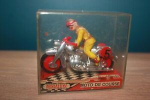 minialuxe moto de course miniature N°5 chrome