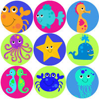 144 Sea Life Creatures 30mm Children's Reward Stickers for Teacher, Parent