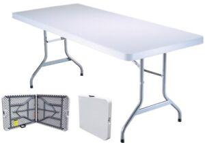 Tavolo Tavolino pieghevole richiudibile in dura resina bianco 183x76xH72 cm per