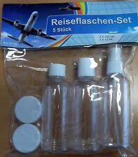 Reiseflaschen-Set 5tlg Handgepäck 100ml 12ml Zippbeutel Flug Flugzeug Urlaub MMS