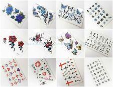 12 sheets temporary tattoo small fake tattoos rose butterfly peony skull