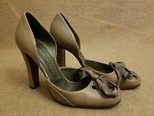 Stella McCartney Women Purple Gray Leather D'Orsay Ribbon Bow Heels Shoes Sz 37
