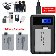 2X Battery +LED Charger for Canon LP-E5 EOS 450D 500D 1000D
