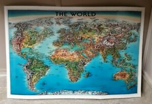 The World Laminated Map Colorful Historic Unique Media Map Vintage 1996 Edition