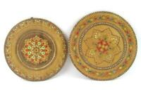 Lot of 2 Vintage Round Wood Carved Painted Plates Snowflake Design