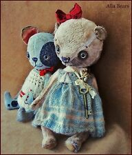 By Alla Bears artist Old Vintage Antique Teddy bear art doll hand made baby toy