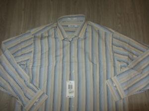 NWT Calvin Klein Striped Long Sleeve Dress Lounge Shirt 17.5 34/35 Beige NEW Tag